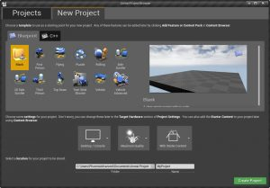 UE4Editor 26/05/2016 , 08:53:43 PM Unreal Project Browser